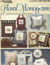 Floral Monograms Charted in 12 Color Schemes Leisure Arts Leaflet 394 1985 - $4.79