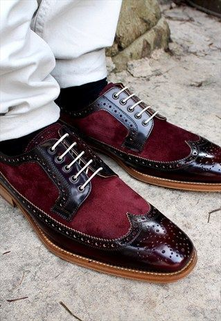 Primary image for Men's Handmade Burgundy Leather & Suede Shoes, Wing Tip Brogue Lace Up Shoes