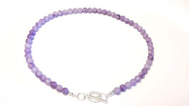 Light Amethyst gemstone necklace (NBE0007) made... - $55.00
