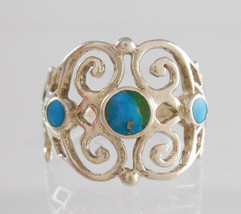Retro Vintage .925 Sterling Silver Open-Work Turquoise Ring Size 5.5 - $331,70 MXN