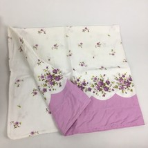 VTG Feedsack? Pillowcase Purple Dahlia Flower Floral Scallop Edge Shabby... - $12.67