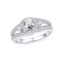 10k White Gold Round Diamond Bridal Wedding Engagement Anniversary Ring 1/2 Ctw - $622.54