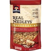Quaker Real Medleys Super Grains Granola, Cinnamon Apple, 6 Count 11 oz Pouches