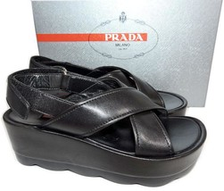 Prada Linea Rossa Black Wedge Crisscross Sandals Platform Slingback Shoe... - $252.00