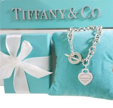 *  Please Return To Tiffany & Co.Silver 925 Heart Tag Toggle Bracelet Ne... - $285.00