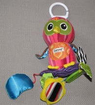 LAMAZE PINK OWL STUFFED PLUSH BABY CLIP ON LINK TOY RATTLE CHIME LEAF TE... - $24.74