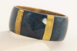 "7"" VINTAGE Jewelry BRASS AND BLUE SPONGE CORAL BANGLE BRACELET BOHO CHIC - $55.00"
