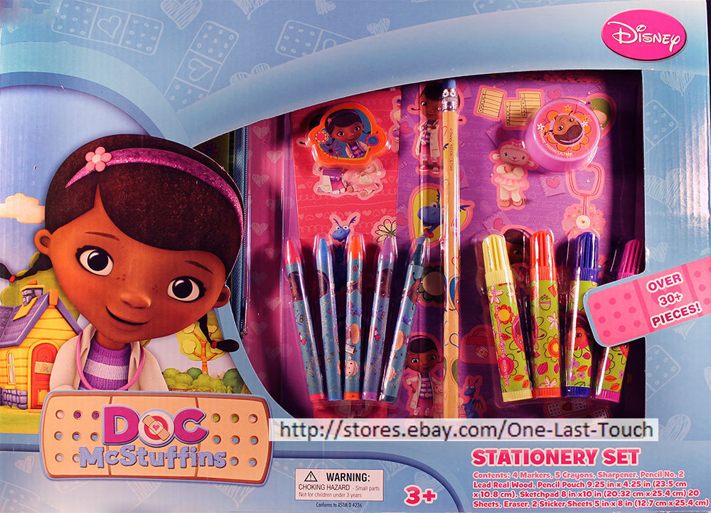 DOC McSTUFFINS*36pc STATIONERY SET Pencil Pouch+Sketch Pad+Markers+Stickers+MORE