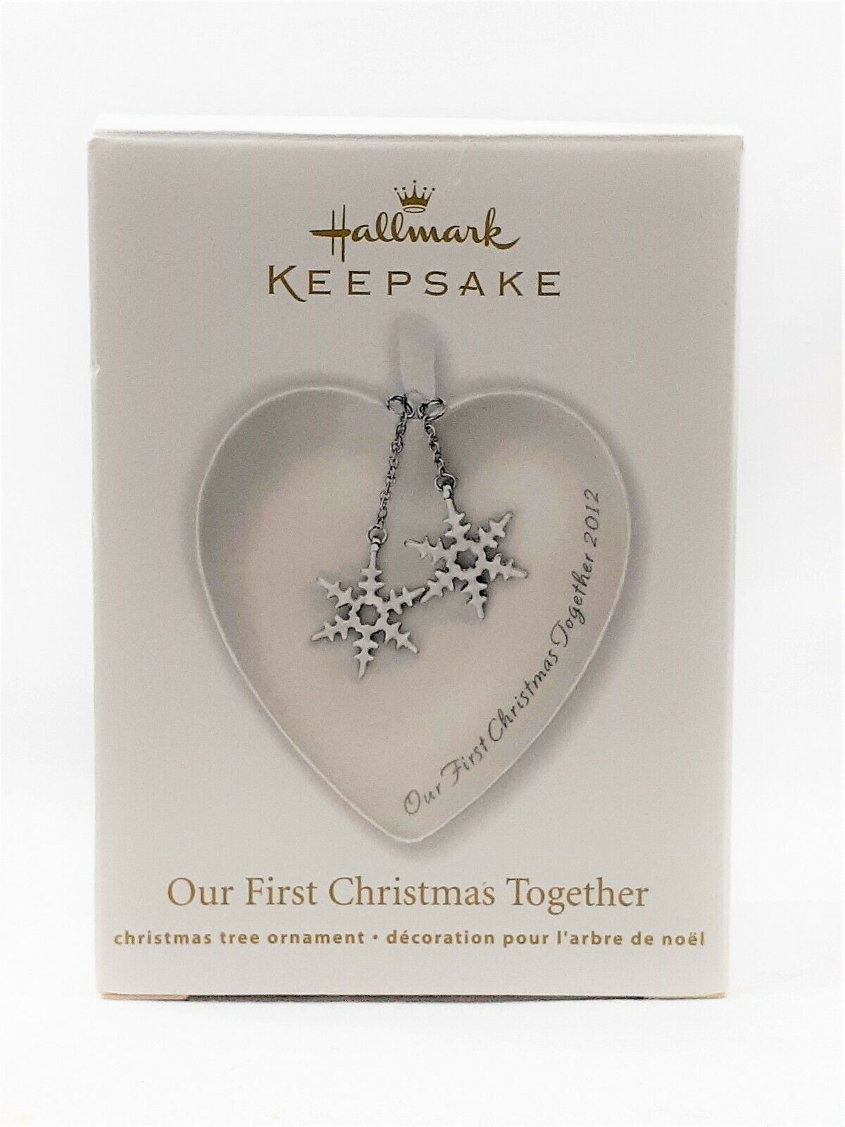 2012 Hallmark Keepsake Ornament First Christmas Together Porcelain Heart Snow - $3.99