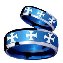 2Pcs Bevel Multiple Maltese Cross Design Shiny Blue IP 2 Tone Tungsten R... - $79.98