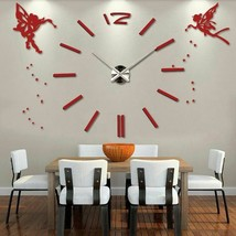 3D DIY Modern Large Wall Clock Angels Oversized Stylish Acrylic Home Dec... - $35.79