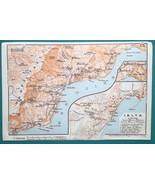 RUSSIA Crimea Ialta Yalta Town City Plan & Environs - 1911 BAEDEKER MAP - $18.00