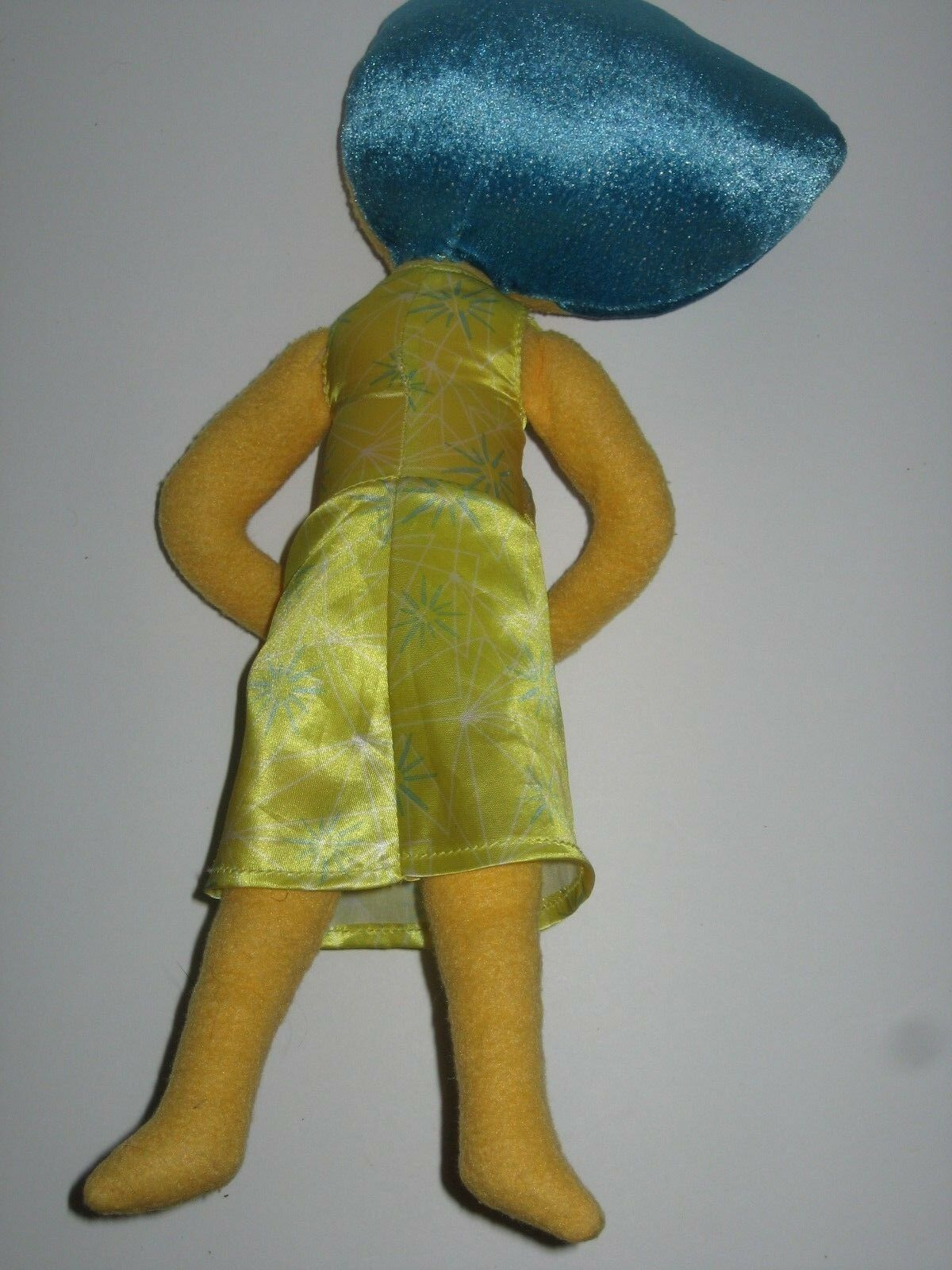 "Disney Store Pixar Inside Out Joy Plush Doll Yellow Blue Hair Eyes Dress 15"""