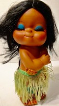 Vintage 70's/80s rubber Hawaiian Hula Girl Doll Aloha grass skirt Hong K... - $9.89