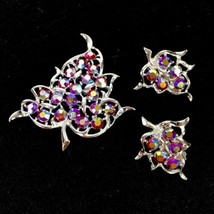 Vtg Sarah Coventry Rhinestones Ab Silver Plate Leaf Brooch Pin Pendant Earrings - $32.68