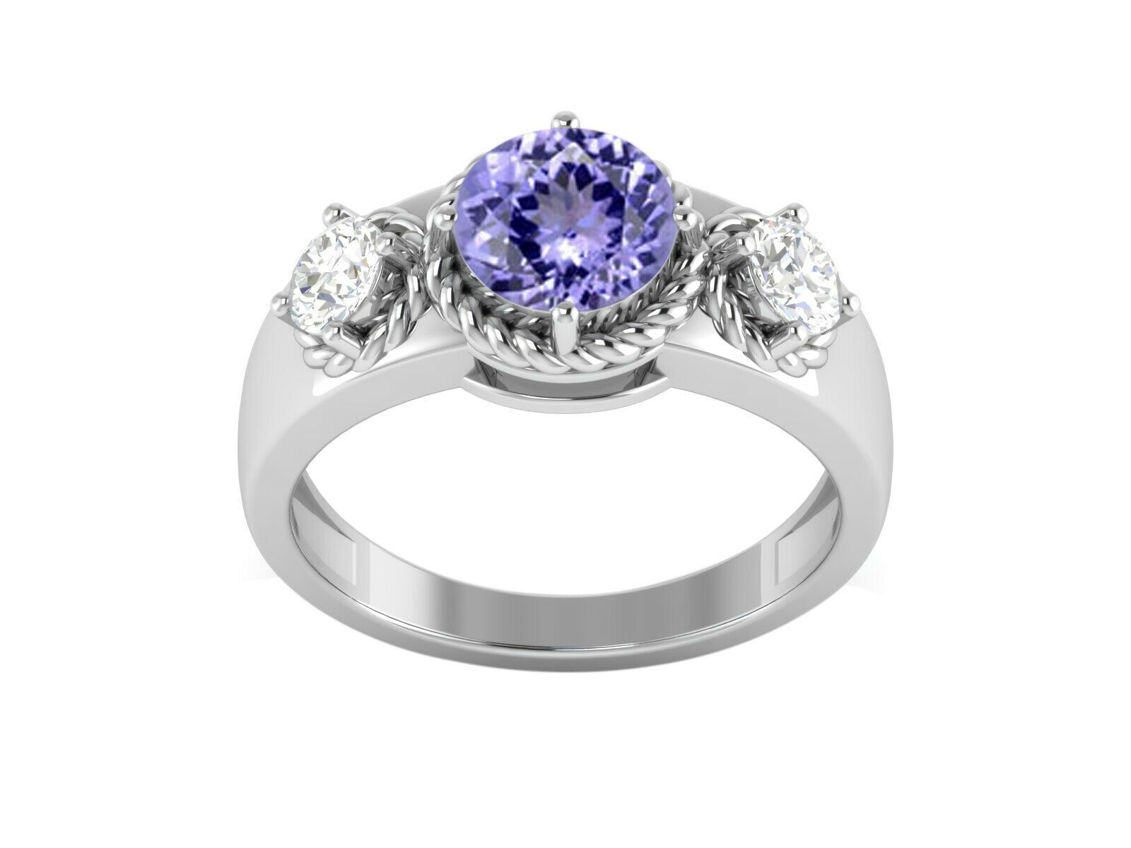 Primary image for 2.93 Ctw Tanzanite Color Gemstone Solitaire Accents Women Ring 925 Fine Silver