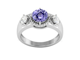 2.93 Ctw Tanzanite Color Gemstone Solitaire Accents Women Ring 925 Fine ... - $17.64