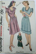 VTG Sewing Pattern Simplicity #1018 Size 12 Bust 30 Day Dress Guernsey WW2 - $21.84