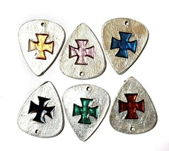 "Cross Guitar Pick Fine Pewter Cast Charm - 1 3/8"" tall     (T226) image 2"