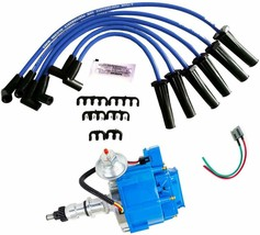 HEI Distributor, Spark Plug Wires, and Pigtail Wiring Harness Set For Ford image 1