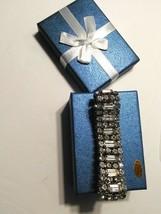 Unsigned WEISS Vintage Baguette Emerald Rhinestone Bracelet Wedding PRETTY! - $39.59
