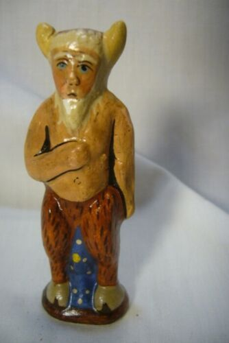 Vaillancourt Folk Art, Tiny Santa in Krampus costume Halloween  signed by Judi