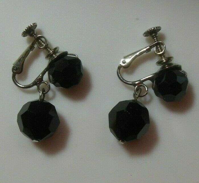 Primary image for Vintage Signed Les Bernard Faceted Black Dangle Ball Earrings
