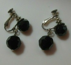 Vintage Signed Les Bernard Faceted Black Dangle Ball Earrings  - $44.55
