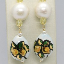Yellow Gold Earrings 750 18K Pearls Fw and Drop Hand Painted by Made in Italy - image 2