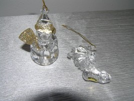 Estate Lot of 2 Thick Clear Lucite Plastic Dimensional SNOWMAN Teddy Bea... - $8.59