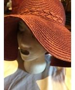 Vintage Pinkish Rosey Red Woven Floppy Straw Wide Brim Sun Hat - $47.59