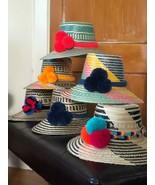 MULTICOLORS Wayuu Hat Straw Pompom Hat Sun hat Panana Hat PALM BEACH HAT M/L - £57.58 GBP