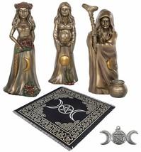 Altar Tarot Cloth Triple Goddess Bronze Statues Moon Pentagram Pendant A... - $113.84