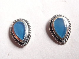 Chalcedony Cabochon Rope Style Accents Stud Earrings 925 Sterling Silver - $13.21