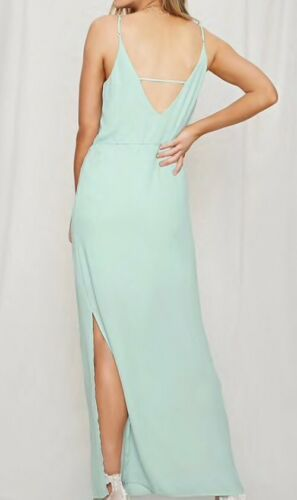 Forever 21 Pretty By Rory Mint Seafoam Chiffon Cami Strappy Long Maxi Dress XS image 3