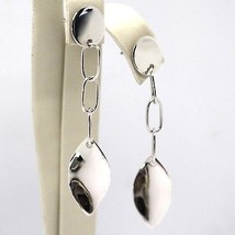 DROP EARRINGS WHITE GOLD 750 18K, DISCO, OVAL AND LEAF UNDULATED - $428.35