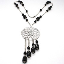 Silver 925 Necklace, Onyx Black Pipe, Locket & Stars Circles, Waterfall image 1
