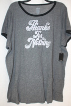 New Torrid Womens Plus Size 5X 5 Gray Ringer Thanks For Nothing Tee Shirt Top - $24.18