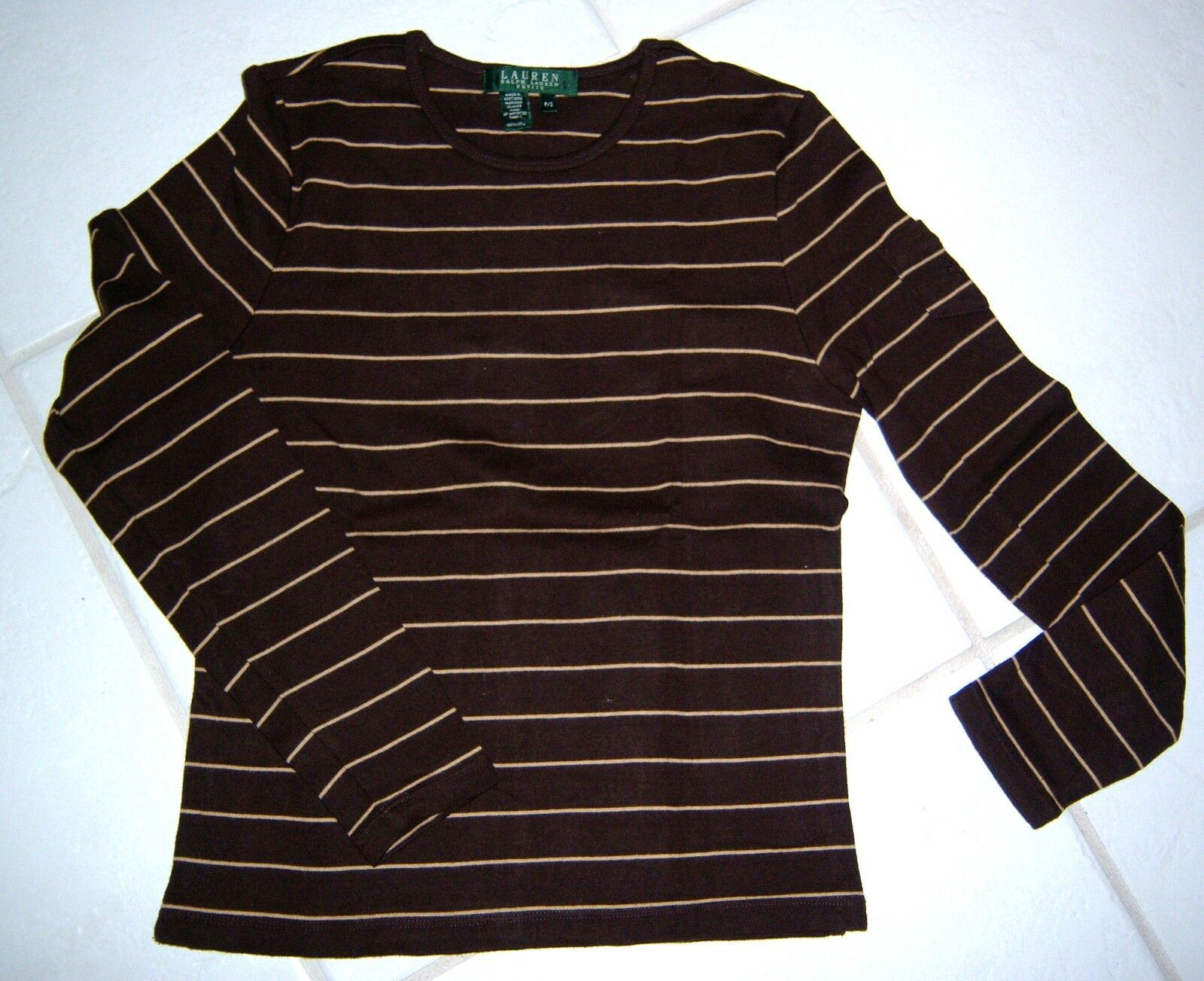 RALPH LAUREN Petite L/S Striped Knit Shirt Top Sleeve Pocket Logo SZ P/S