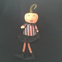 Halloween Primitive Pumpkin Head Fabric Shelf Sitter Rag Doll Short  L. ... - £21.07 GBP