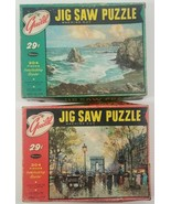 N) Vintage Set of 2 Guild Whitman 304 Piece Puzzles Champs Elysees Ebb Tide - £11.28 GBP