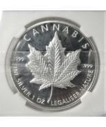 2014 Cannabis 420 Marijuana Proof .999 Silver 1 Toz. Round AJ999 - $57.96