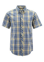 Men's Cotton Casual Short Sleeve Classic Collared Plaid Button Up Dress Shirt image 14