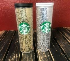 Starbucks Coffee Tumbler Lot Tall Cup Gold Silver Set Minimal Damage Log... - $17.99