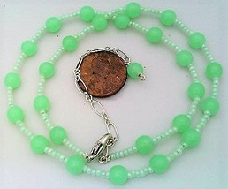Green Opal Glass Beaded Necklace - $10.20