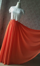 Plus Size Maxi Chiffon Skirt A-Line Chiffon Wedding Skirt Orange image 2
