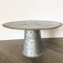Galvanized Metal Cake Pedestal Stand Farmhouse Rustic Gold-Tone Trim 11 ... - $24.00