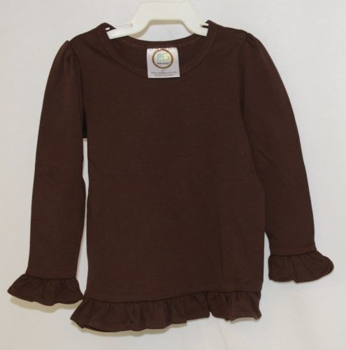 Blanks Boutique Girls Brown Long Sleeve Ruffle Tee Shirt Size 2T