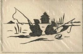 vtg Needlepoint Kit Oriental Scene Silhouette Wiener Mill Handarbeit Aus... - $17.39