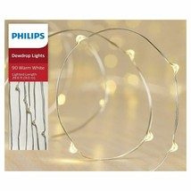 Philips 90ct Christmas LED Dewdrop String Fairy Lights Warm White Silver Wire image 1